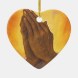 black praying hands Double-Sided heart ceramic christmas ornament