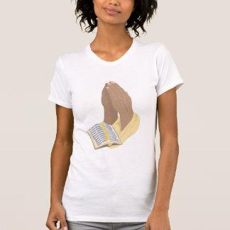Black Praying Hands w/Bible & Gold Robe - Ladies T-Shirt