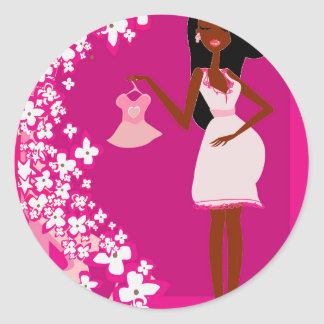 black pregnant woman classic round sticker