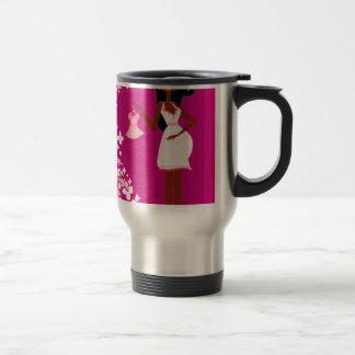 black pregnant woman 15 oz stainless steel travel mug