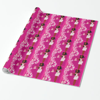 black pregnant woman wrapping paper