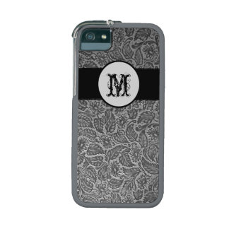 Black Pressed Leather Looking Monogram iPhone 5 Cases