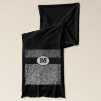 Black Pressed Leather Looking Monogram Scarf