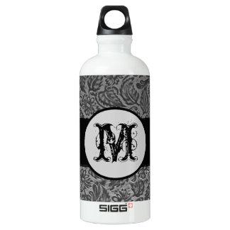 Black Pressed Leather Monogram Aluminum Water Bottle