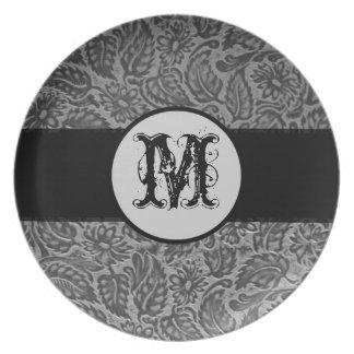 Black Pressed Leather Monogram Dinner Plate