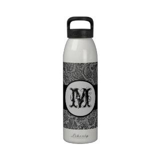 Black Pressed Leather Monogram Reusable Water Bottles