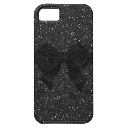 Black Printed Glitter & Bow iPhone 5 Case
