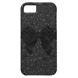 Black Printed Glitter & Bow iPhone SE/5/5s Case