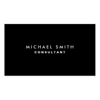 Black Professional Elegant Modern Plain Simple Double-Sided Standard Business Cards (Pack Of 100)