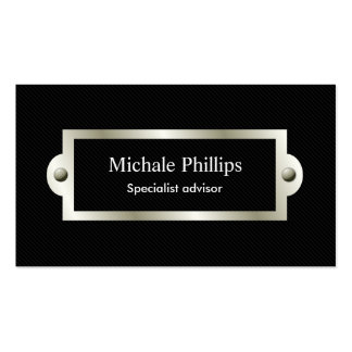 Black professional serious classic elegant window business card