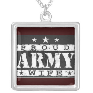 black proud army wife necklace