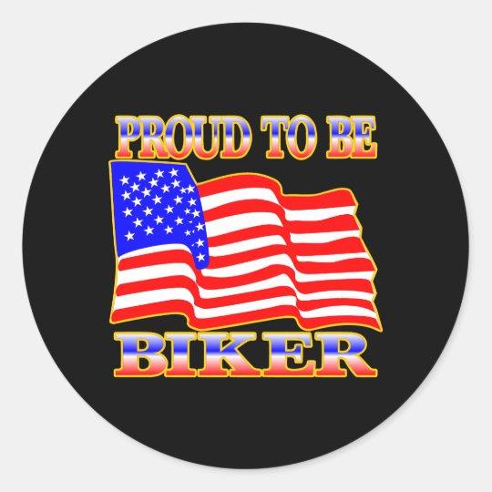 Black Proud Be American Biker Classic Round Sticker
