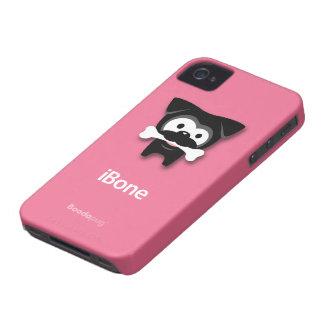 Black Pug Bone! iPhone4 Case (Pink)