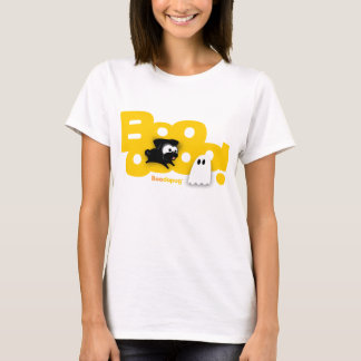 Black Pug Boo! White T-shirts