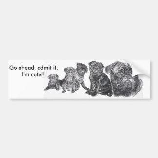 Black Pug Bumper Sticker
