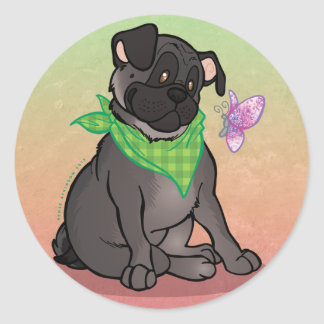 Black Pug Butterfly Large 3 Round Stickers