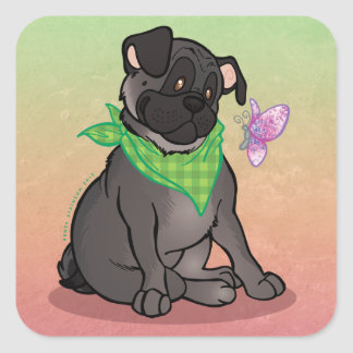 Black Pug Butterfly Large 3 Square Stickers