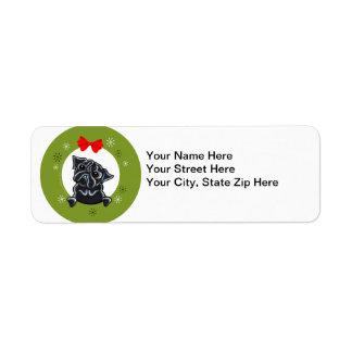Black Pug Christmas Label