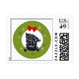 Black Pug Christmas Postage