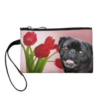 Black pug dog in tulips change purse