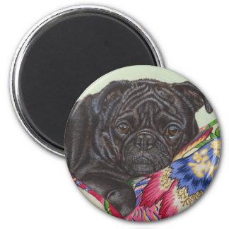 Black Pug Dog Painting Art 2 Inch Round Magnet