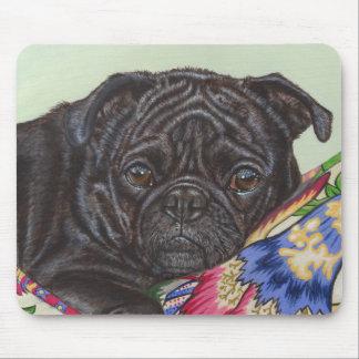 Black Pug Dog Painting Art Mouse Pad