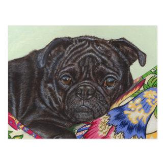 Black Pug Dog Painting Art Post Cards