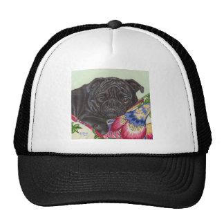 Black Pug Dog Painting Art Trucker Hats