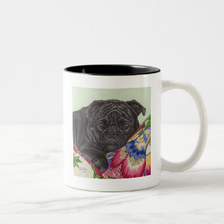 Black Pug Dog Painting Art Two-Tone Coffee Mug