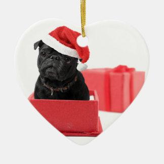 Black pug dog present or gift ceramic ornament