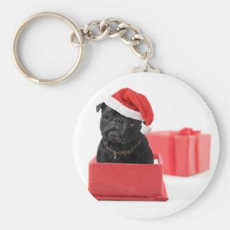 Black pug dog present or gift basic round button keychain