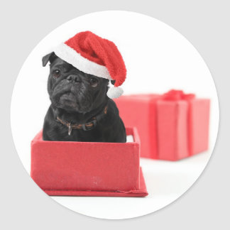 Black pug dog present or gift round stickers