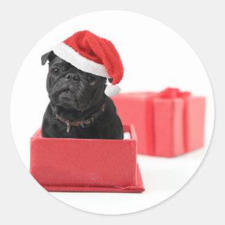 Black pug dog present or gift classic round sticker