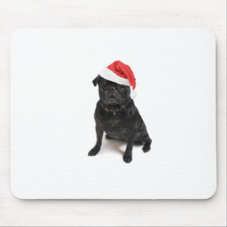 Black pug dog with red santa hat mouse pad