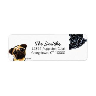 Black Pug Fawn Pug Up Down Custom Color Label