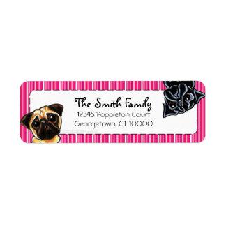 Black Pug Fawn Pug Up Down Pink Stripes Label