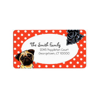 Black Pug Fawn Pug Up Down Red Dots Custom Address Labels