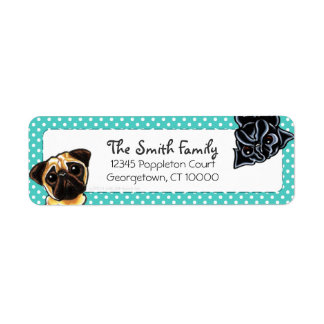 Black Pug Fawn Pug Up Down Teal Dots Label