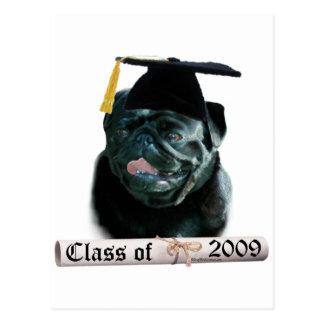 Black Pug Grad 09 Postcard