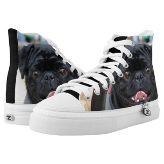 Black Pug  high top tennis shoes