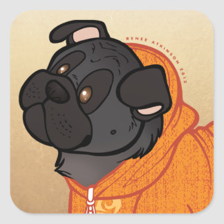 Black Pug Hoodie Large 3 Square Stickers
