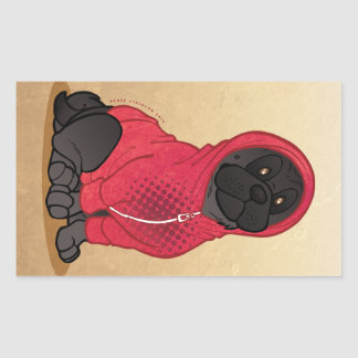 Black Pug Hoodie Sit Large Rectangle Stickers