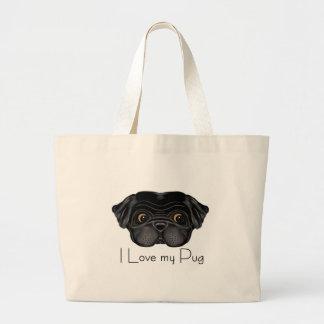 Black Pug Large Tote Bag
