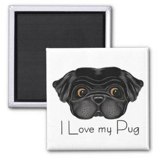 Black Pug 2 Inch Square Magnet