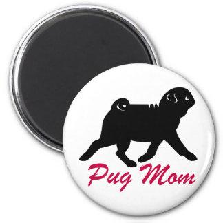 Black Pug Mom 2 Inch Round Magnet