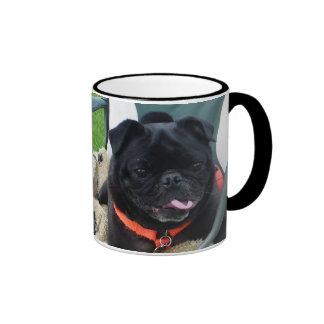 Black pug muggy ringer mug