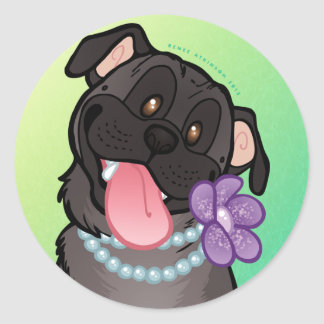 Black Pug Pearls Large 3 Round Stickers