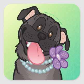 Black Pug Pearls Large 3 Square Stickers