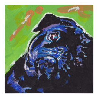 Black Pug Pop Art Poster Print