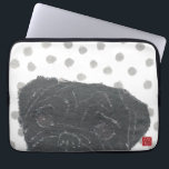 """Black Pug, Pug Dog Computer Sleeve<br><div class=""""desc"""">The design is from the mixed media art of hand-torn newspaper collage art and handmade stencil pattern &quot;Black Pug And Gray Japanese Polka Dots&quot;.</div>"""